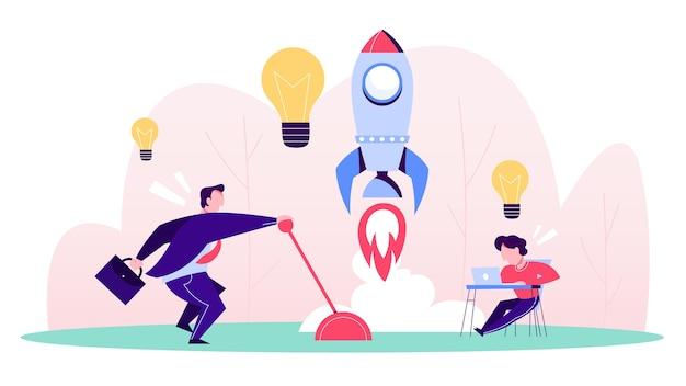 Biznesmen rozpoczyna nowy projekt. idea startupu
