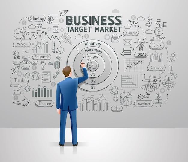 Biznesmen rysunek biznes pomysł na rynek docelowy na ścianie