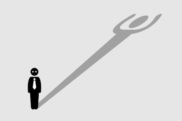 Biznesmen rzucający cień przypominający silną osobę. grafika przedstawia ukrytą siłę, talent, potencjał, moc i pewność siebie.