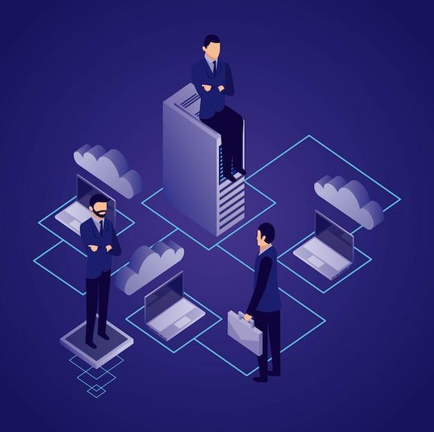 Biznesmen sieci danych