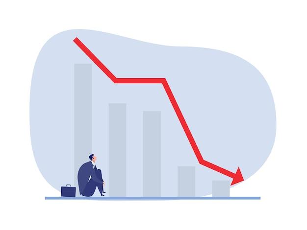 Biznesmen siedzący z spadającym, poniżającym wykresem upadłość
