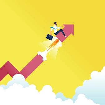 Biznesmen siedzi na szczycie dużej strzałki i posuwa się do przodu, reprezentując wzrost i sukces