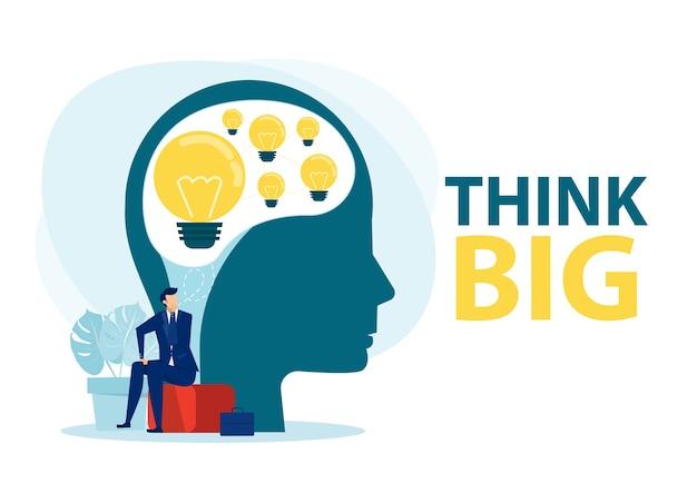 Biznesmen siedzi pomysł z żarówką na głowie człowieka myślenie duży projekt płaski