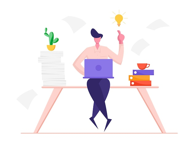 Biznesmen siedzi przy biurku ze sterty folderów i dokumentów papierowych