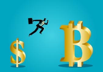 Biznesmen skacze od dolara do bitcoin symbol