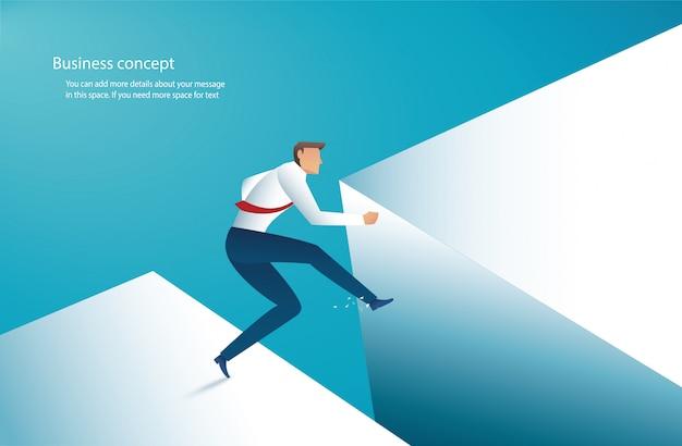 Biznesmen skacze przez lukę do sukcesu
