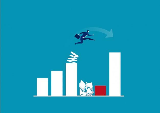 Biznesmen skacze wiosnę przez rosnącą wykres słupkowy. ilustrator.