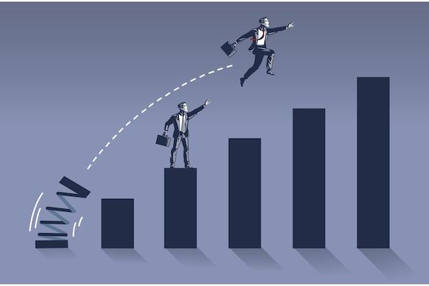 Biznesmen skacze wysoko, nakładając się na swojego kolegę na ilustracji wykresu słupkowego
