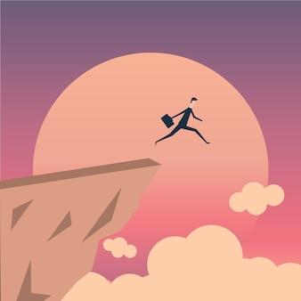 Biznesmen skoki przez pojęcie wektor otchłani.