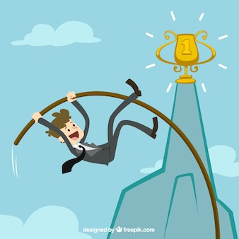 Biznesmen skoku o tyczce, aby osiągnąć swój cel