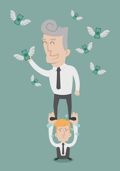 Biznesmen spadające pieniądze