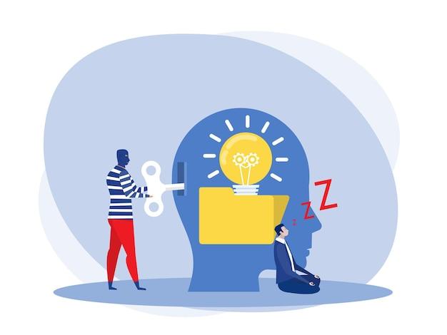Biznesmen śpiący lub zmęczony tworzący pomysł z człowiekiem kradnący pomysł z odblokowania koncepcji żarówki