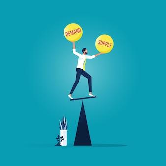 Biznesmen spróbować równowagi popyt i podaż piłka na huśtawce, koncepcja ekonomiczna