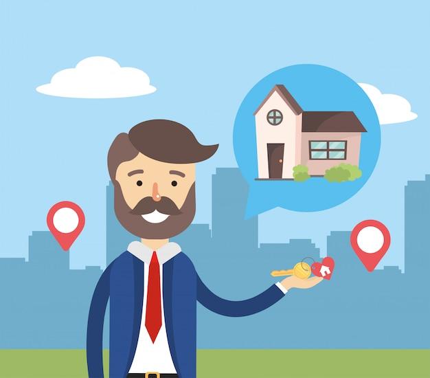Biznesmen sprzedaż dom nieruchomości i lokalizacja