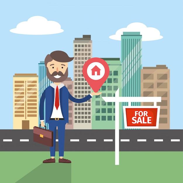 Biznesmen sprzedaż prawdziwe państwo mieszkanie