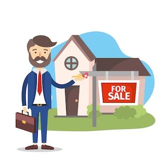 Biznesmen sprzedaży domu majątkowa roślina
