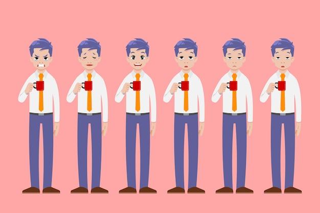 Biznesmen stanąć i trzymać filiżankę napoju kawowego w innym geście pozy i pokazać wiele emocji twarzy.