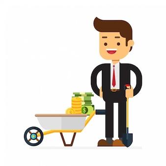 Biznesmen stoi na łopacie pełnej gotówki dolara