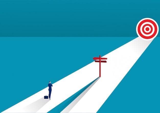 Biznesmen stoi na środkowym sposobie i wybiera kierunek. pomysł na biznes. nowoczesne ilustracji wektorowych. kierunek