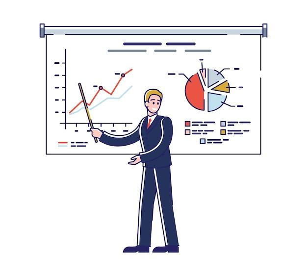 Biznesmen stoi przy ekranie i robi prezentację