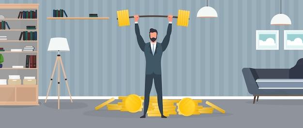 Biznesmen stoi z górą monet i podnosi sztangę. mężczyzna w garniturze ze sztangą. koncepcja udanego biznesu i wzrostu przychodów. odosobniony. wektor.