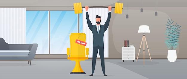 Biznesmen stoi z górą monet i podnosi sztangę. mężczyzna w garniturze ze sztangą. koncepcja udanego biznesu i wzrostu przychodów. wektor.