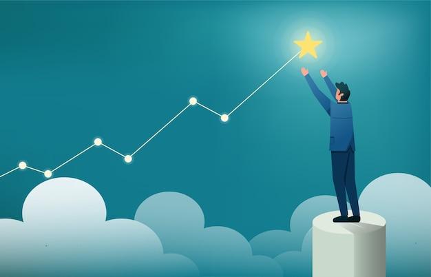 Biznesmen stojąc, aby dotrzeć do gwiazd ilustracji. symbol celu biznes i kariera.