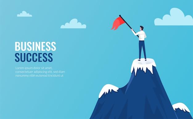 Biznesmen stojąc na szczycie góry w zwycięzcy pozie ilustracja z wzrostem flagi.