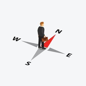 Biznesmen stojący centrum na kompas