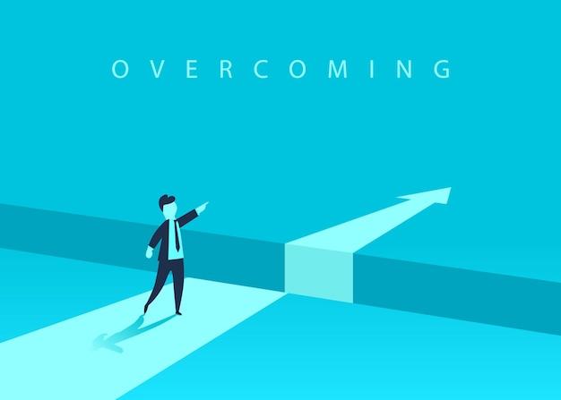 Biznesmen stojący przed przeszkodą, luka na drodze do sukcesu, biznesowa koncepcja rozwiązania problemu