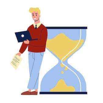 Biznesmen stojący przy wielkiej klepsydrze. idea zarządzania czasem i planowania. ilustracja w stylu kreskówki