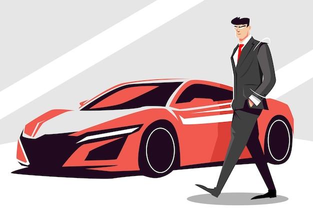 Biznesmen stojący w pobliżu samochodu sportowego mężczyzna w garniturze