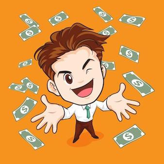 Biznesmen szczęśliwy ma pieniądze