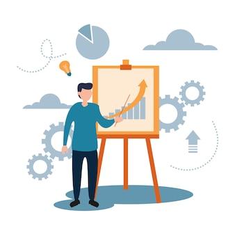 Biznesmen szkolenie prezentacji płaski styl kreskówek