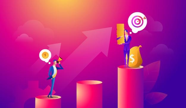 Biznesmen szuka okazji inwestycyjnej stojąc na wykresie wzrostu pieniędzy. rynek akcji zysku. koncepcja biznesowa inwestora. ilustracji wektorowych.