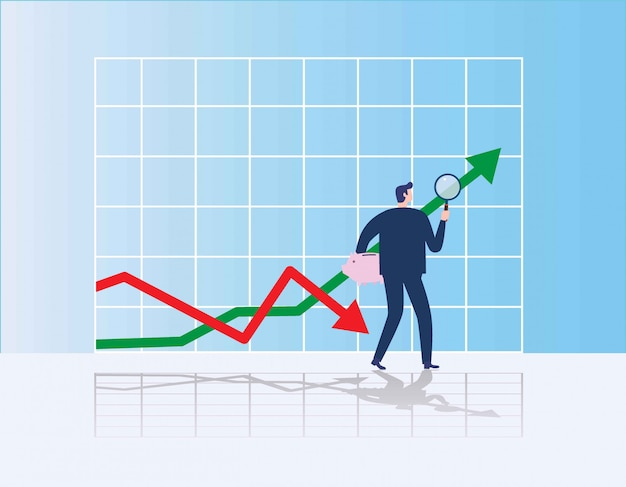 Biznesmen szuka okazji inwestycyjnej stojąc na wykresie wzrostu