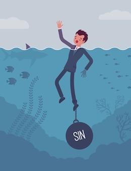 Biznesmen tonący przykuty ciężarem grzech