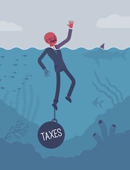 Biznesmen tonący przykuty ciężarem podatki