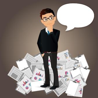 Biznesmen tonący w dokumentach
