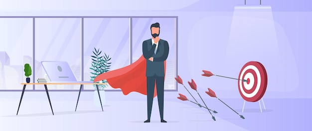 Biznesmen trafia w cel. uderz w środek tarczy strzałą. biznesmen z czerwonym płaszczem. gabinet. pojęcie motywacji i osiągnięć w biznesie. wektor.