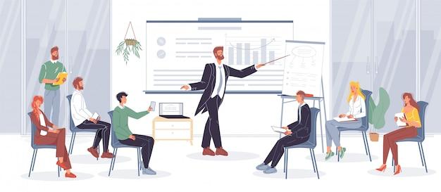 Biznesmen trener dyrygent nauczania pracownika