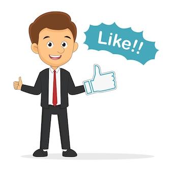 Biznesmen trzyma kciuki znak, koncepcja pozytywnej opinii.