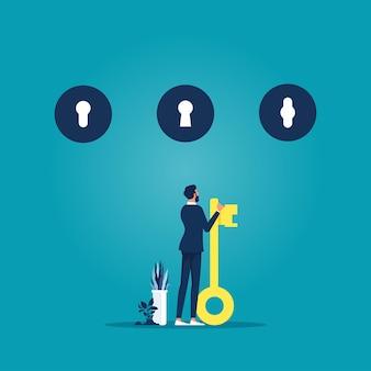 Biznesmen trzyma klucz w ręku i decyduje się wybrać dziurkę od klucza, koncepcja decyzji biznesowej