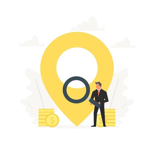 Biznesmen trzyma lupę i stoi w pobliżu z dużym wskaźnikiem mapy.