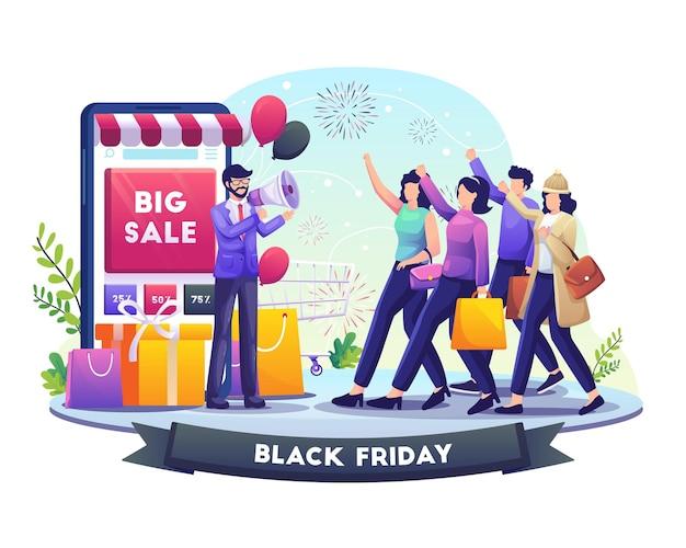 Biznesmen trzyma megafon kieruje ludzi do zakupów na ilustracji black friday