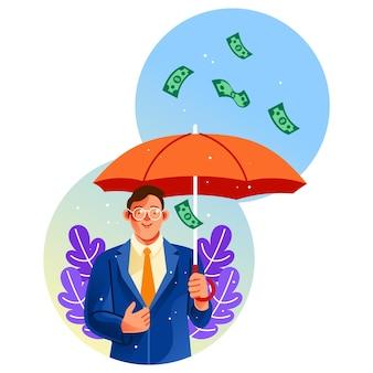Biznesmen trzyma parasol pod ilustracją deszczu pieniędzy
