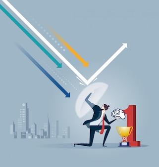 Biznesmen trzyma tarczę odzwierciedlającą ataki. metafora biznesowa obrońcy