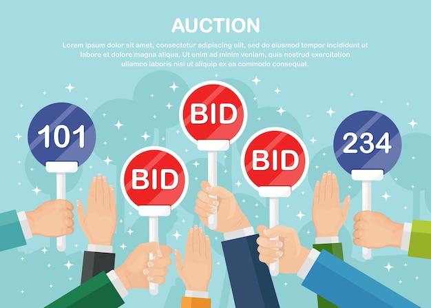 Biznesmen trzyma wiosło aukcji w ręku. koncepcja przetargu. ludzie stawiają tablice z napisami bid
