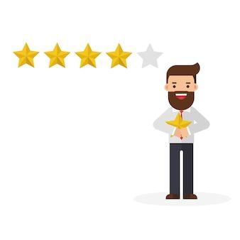 Biznesmen trzyma złotą gwiazdę w ręce