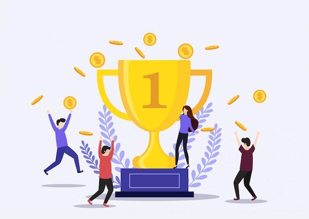 Biznesmen trzyma zwycięskiego trofeum. koncepcja zwycięstwa.